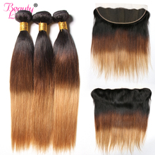Ombre 13x4 Lace Frontal Closure With Bundles Ombre Malaysian Straight Human Hair 3 Bundles Lace Frontal With Bundles Non Remy