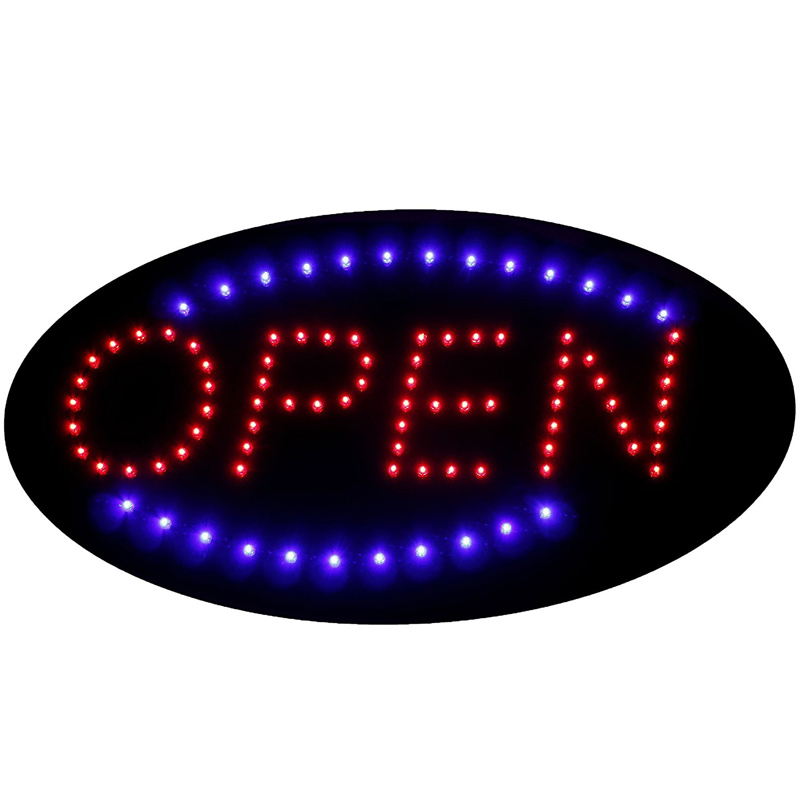 19x10 LED Neon Light Open Sign Animated Oval Open Sign,LED Neon Sign with Motion led080 r walk ins welcome led neon sign whiteboard