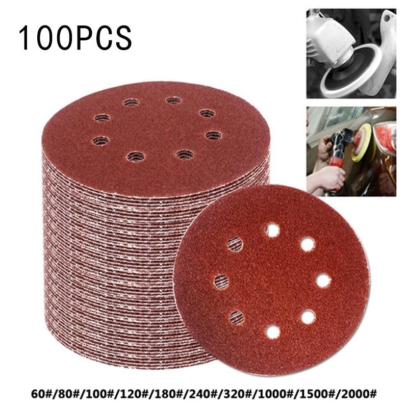100pcs Set 125mm Sandpaper Sanding Discs Hook Paper Orbital Sander Polisher Pads