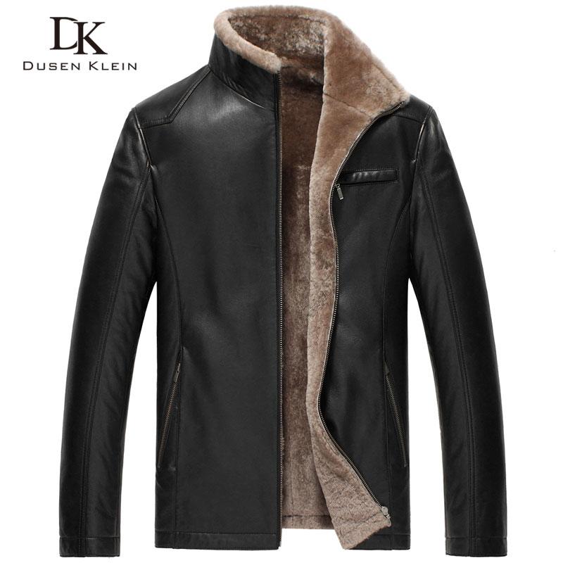 Hiver hommes En Cuir vestes Dusen Klein Marque nouveau hommes Laine Doublure et Collier masculin De Luxe Intelligent en cuir Manteau en peau de mouton 14Z6603
