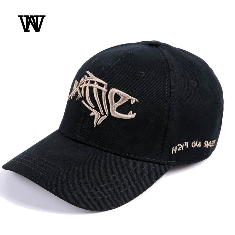 Fish Cap Bone Skeleton Baseball Adjustable Sun Embroidery Cotton Hat Men Cap
