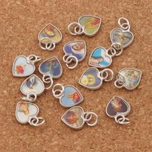 Enamel Jesus Icon Heart Charm Beads 12x10mm 220PCS Antique Silver Pendants Jewelry DIY T1564
