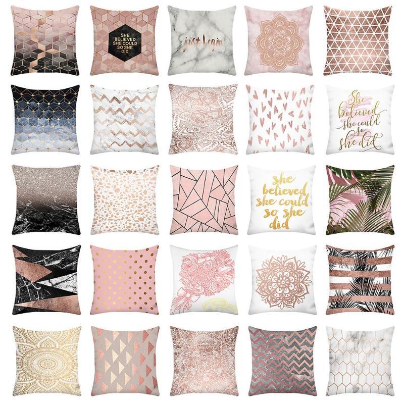 Cushion Cover 40x40cm Fashion Geometric Pattern Print Cushion Cover Peach Skin Throw Pillowcase Home Sofa Decoration Pillow Case