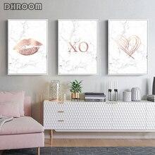 Лучший!  Розовое Золото Мрамор Плакаты и Принты Скандинавский Любовь Плакат Wall Art Мода Живопись