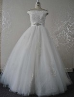 Real Photo New Design Vestido De Noiva Elegant Crystal Sash Off The Shoulder Ball Gown Wedding