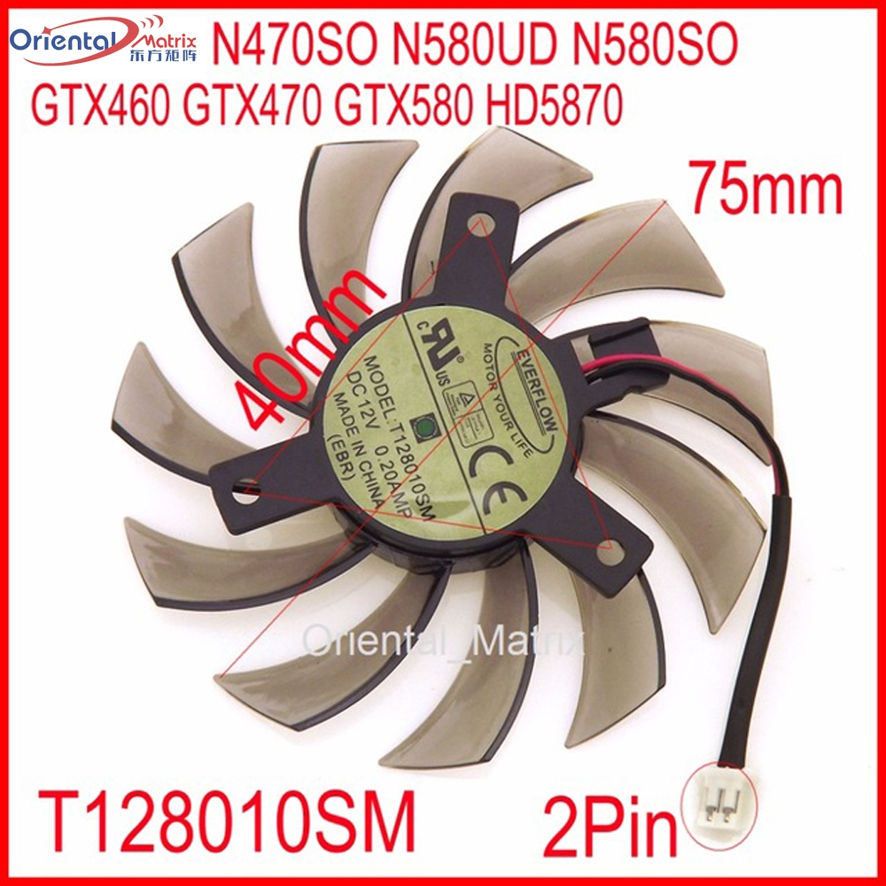 Free Shipping T128010SM 12V 0.2A 2Pin For Gigabyte N470SO N580UD N580SO GTX460 GTX580 HD5870 Graphics Card Cooling Fan everflow t128010sm 75mm dc 12v 3pin 0 20a for gigabyte hd 6870 gtx470 gtx480 gtx570 gtx580 hd6970 graphics video card cooler fan