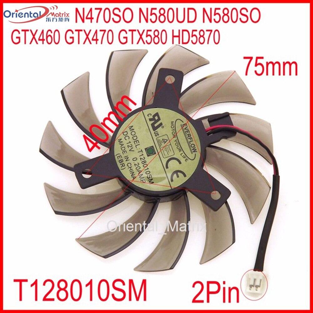 Livraison Gratuite T128010SM 12 V 0.2A 2Pin Pour Gigabyte N470SO N580UD N580SO GTX460 GTX580 HD5870 Carte Graphique Ventilateur De Refroidissement