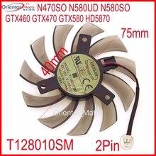 Бесплатная доставка T128010SM 12 В 0.2a 2Pin для Gigabyte n470so n580ud n580so GTX460 GTX580 HD5870 Графика Вентилятор охлаждения