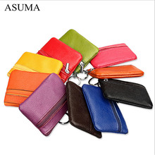 цена на 2019 Fashion Women Men Coin Purse Key Wallets Genuine Leather Wallet Multi Functional Zipper Card Wallet Carteira Feminina Gift