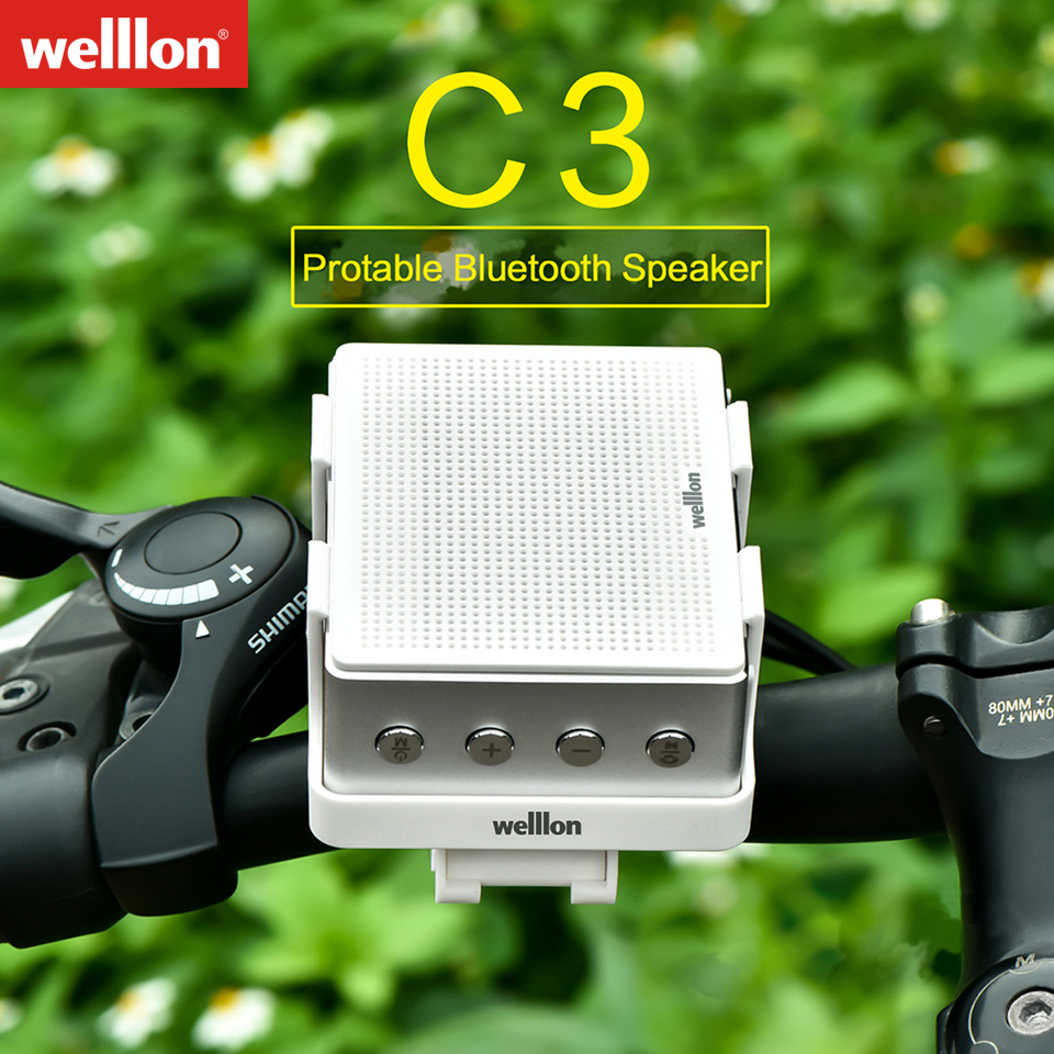 Welllon C3 Outdoor Portable Bike Bluetooth Speaker Aluminum Alloy IPX3 Waterproof Loudspeakers with Bicycle <font><b>Mount</b></font> Extreme Boom