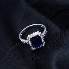 Yunkingdom Square Design Jewelry Sets Elegant Women's fashion Earrings Gold Color Blue  zircon crystal Wedding Rings LPG2