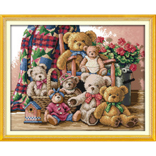 Вечная любовь Рождество Медведь семья экологический хлопок китайский вышивка крестом наборы Счетный Штамп магазин продвижение продаж