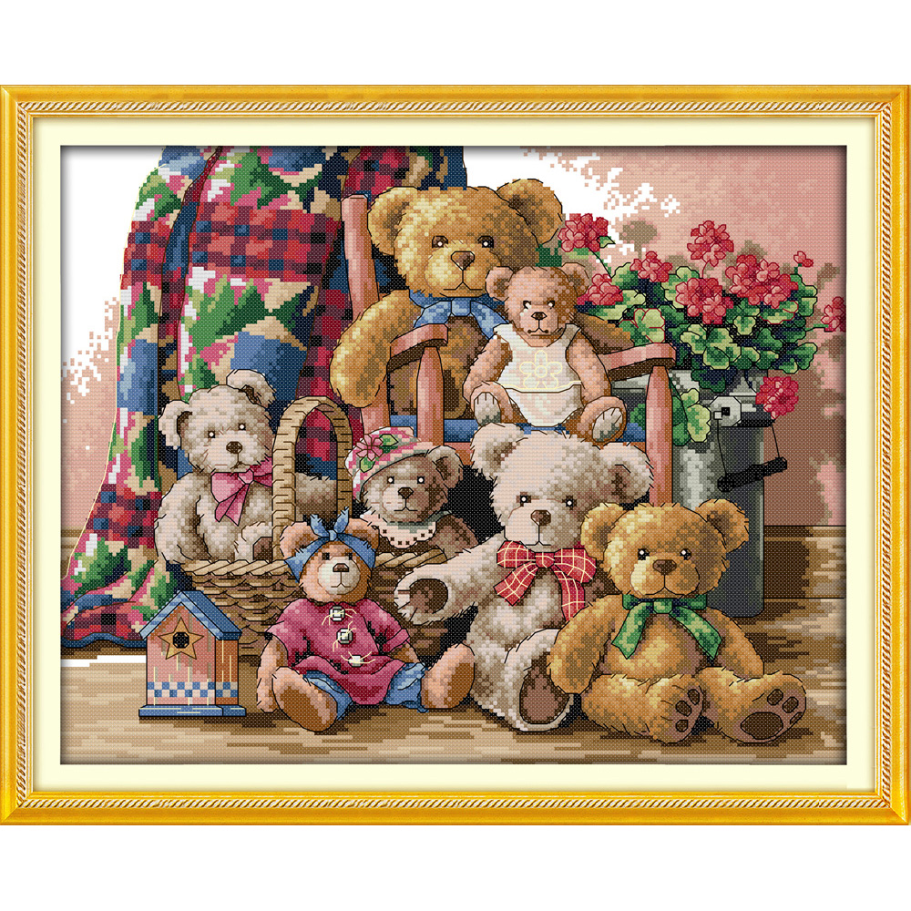 Everlasting love Christmas Bear family Ecological cotton Chinese cross stitch kits counted stamped New store sales promotion