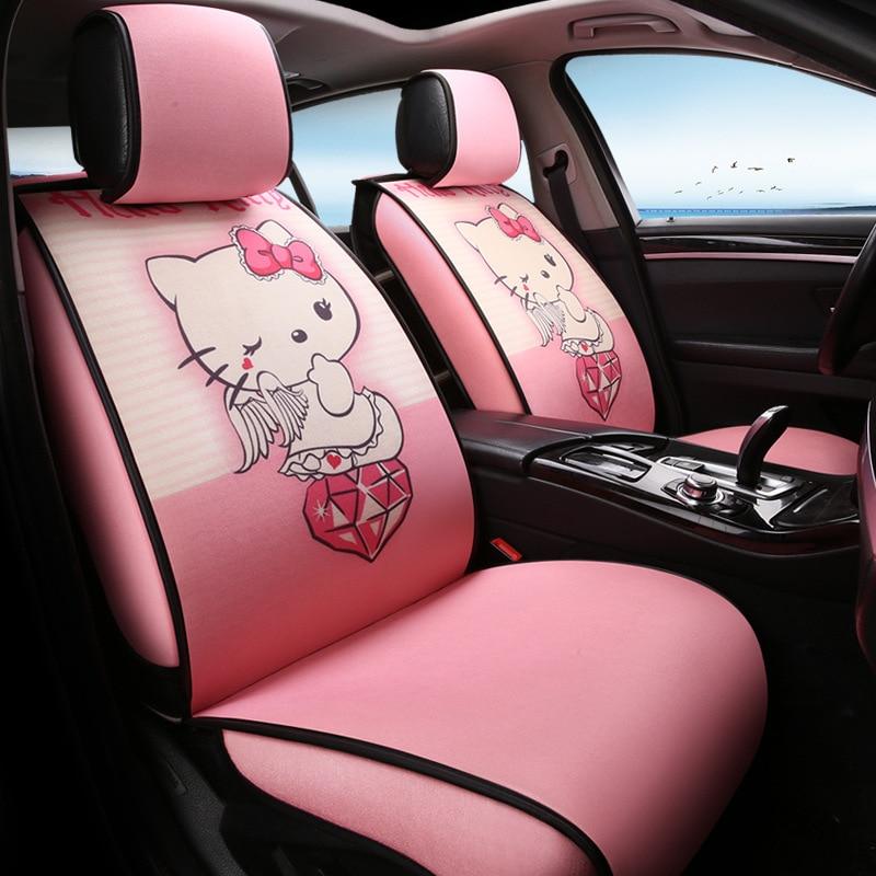 Mode lin siège de voiture protecteur housses de siège rose Hello Kitty accessoires de voiture fibre voiture siège décoratif Para Coches Asientos