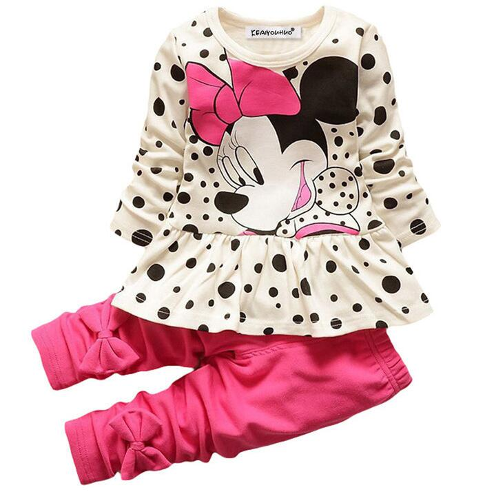 Baby Girl Clothes Spring Children Clothing Girls Sets Minnie Mouse Kids Clothes Tracksuit For Girls Sport Suit Long Sleeve+Pants motoo free shipping for kawasaki zx6r 2005 2006 zx 6r motorcycle aluminium steering stabilizer damper mounting bracket kit