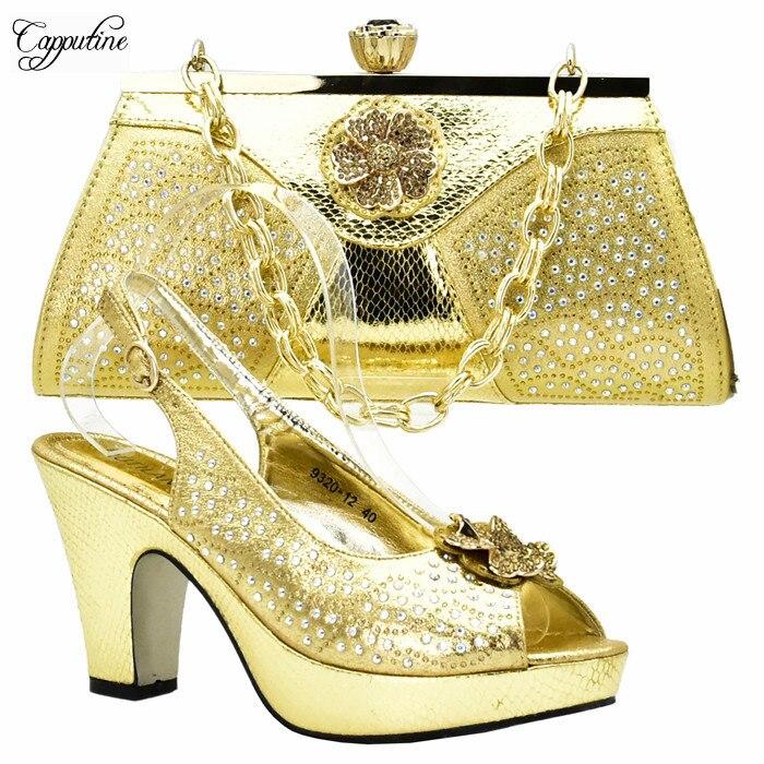 Милая дама высокий каблук свадебные/вечерние золотые туфли и сумки набор приятно соответствия для вечернее платье xy02 Высота каблука 10 см