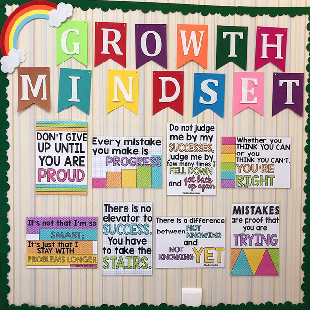 pcs growth mindset learn english quotes proverb classroom a