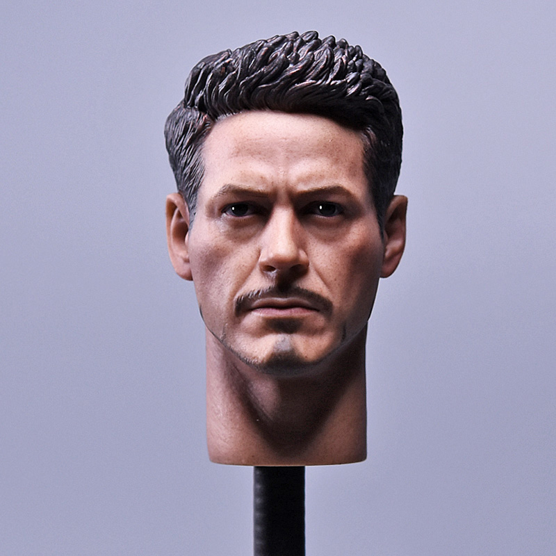 1/6 Scale New Edition American Captain Iron Man Tony   Robert Head Sculpt for HT mk43 mk45 mk46 1 6 scale male head sculpts model toys downey jr iron man 3 captain america civil war tony with neck sets mk45 model collecti f
