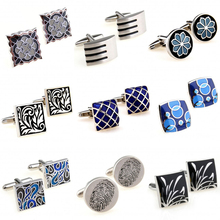 Trendy Black Blue Enamel Cufflink Cuff Link 1 Pair Big Promotion cheap Tie Clips Cufflinks Fashion Classic Cuff Links Simulated-pearl Stone TZG101 Various Stainless Steel