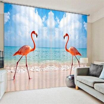 Red-crowned crane Digital Print 3D Blackout Curtains For Living room Bedding room Drapes Cotinas para sala