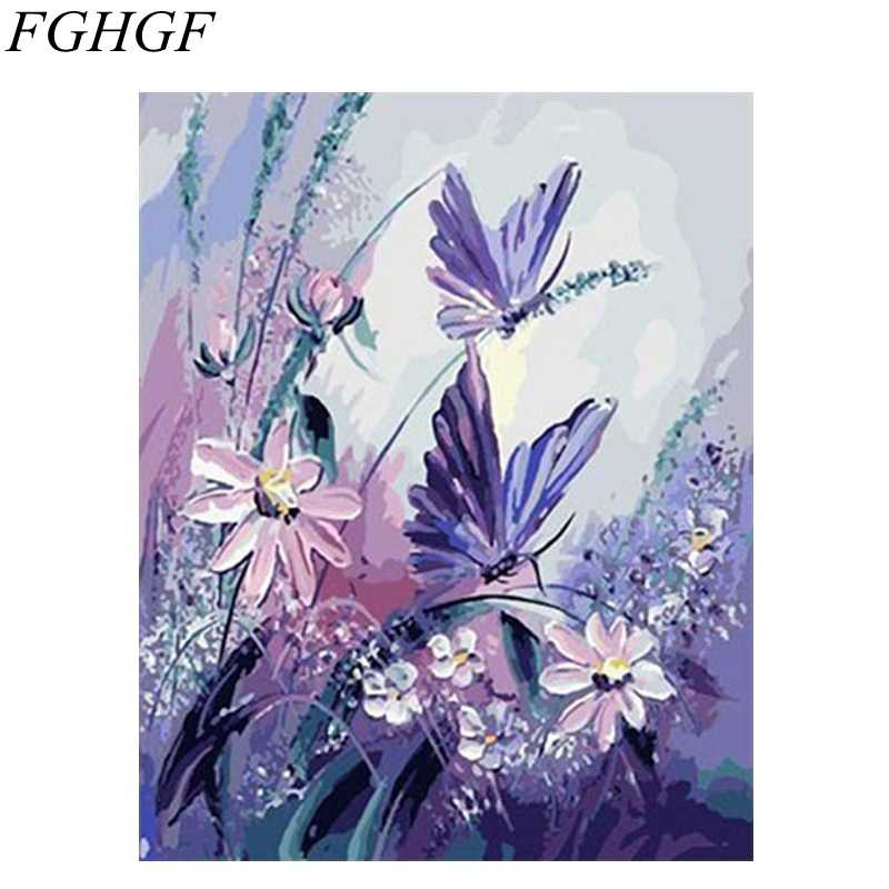 FGHGF Framed Picture Painting By Numbers Modern Flower Home Decor For Living Room Hand Unique Gifts