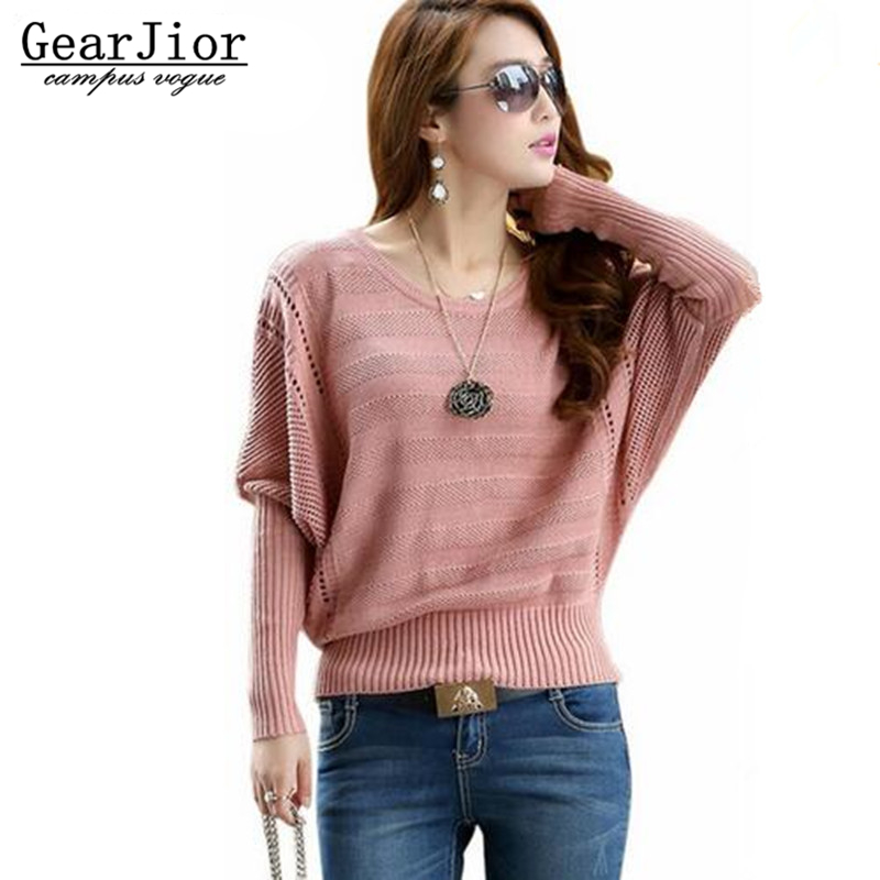 2016 Spring Autumn Womens Knit Pullover Batwing Shirt Hollow Out Long-sleeve O-neck Sweater Female Sweaters