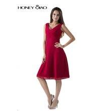 Honig Qiao V-ausschnitt Red Chiffon Promkleider 2016 Lange Falten Elegante Abendkleider Reißverschluss Knielangen Vestidos De Festa