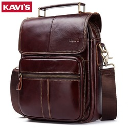 Kavis moda 2018 novo couro genuíno dos homens bolsa de ombro alta qualidade sacos crossbody para o sexo masculino saco do mensageiro 9.7