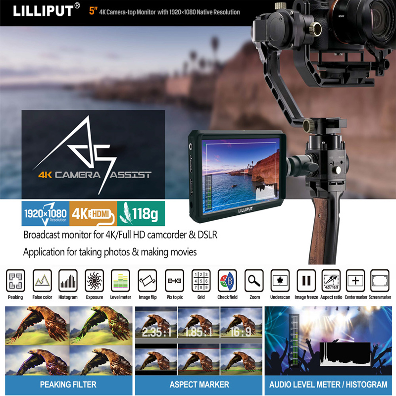 Lilliput A5 5 Inch only 118g FHD 1920x1080 4K HDMI On Camera Field Monitor Broadcast Monitor for Canon Nikon Sony Zhiyun Gimbal
