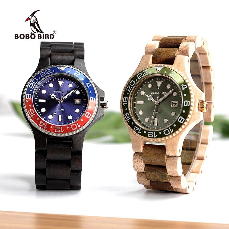 BOBO BIRD Luxury Brand Wooden Quartz Watches With Sparkling Calendar Display Mens Watch Top Brand Wristwatch