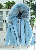 Топ qualtiy Бренд 2016 Новая зимняя куртка пальто женские Цвет небесно синий теплая дутая куртка парка реального большой енота меховой воротник