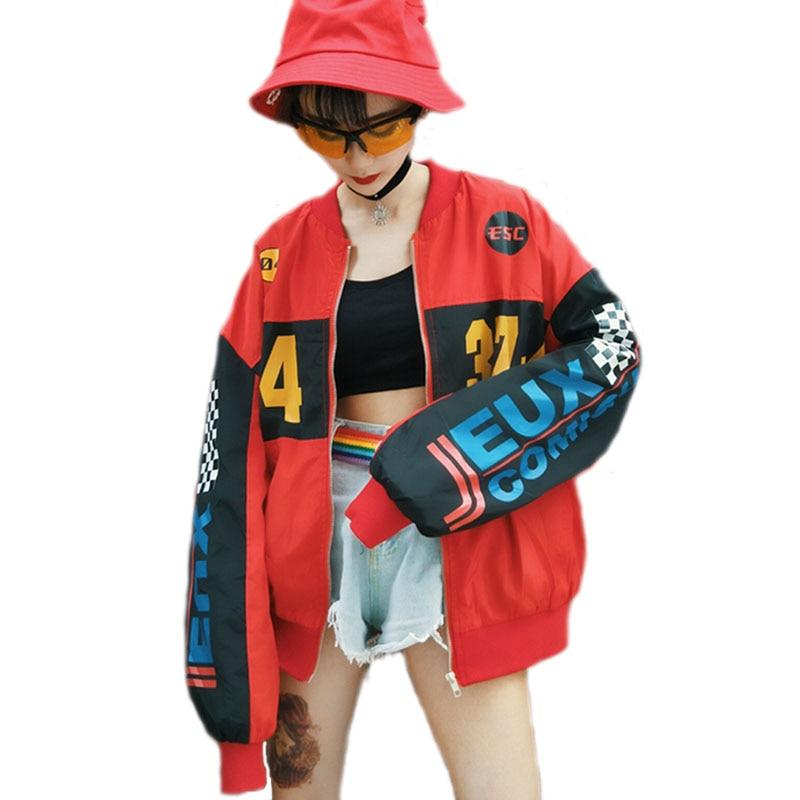 2019 Hip Hop Unisex Printed Coat Patchwork Bomber Jacket Windbreaker Spring Harajuku BF Streetwear Coat Loose Casual Jacket