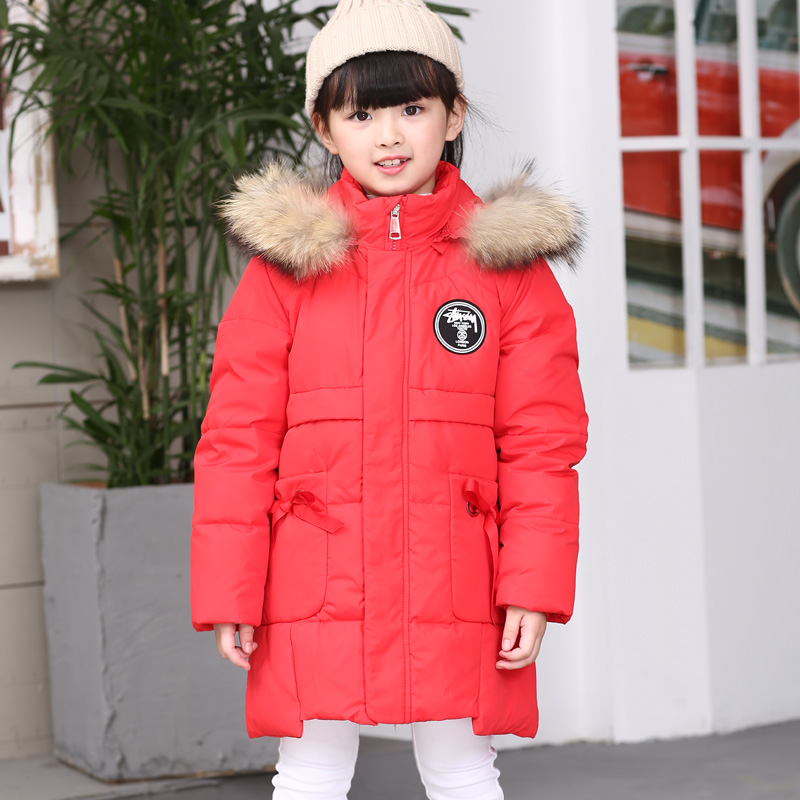 Girls Down jacket  Kids Long Style Outdoor  Children  Russian Winter -30 degr Windproof thickening Coat parka Child Outerwear high quality children winter outerwear 2017 baby girls down coats jacket long style warm thickening kids outdoor snow proof coat