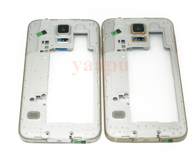 original Middle Frame Plate Bezel Housing Case For Samsung Galaxy S5 SV I9600 G900F G900H G900P Replacement Parts free shipping