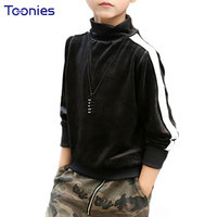 Turtleneck Boys Pullovers Tops 2017 Autumn Winter T Shirts Side Strip Print Boy T Shirts Warm