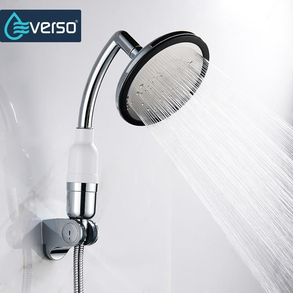 EVERSO Rotate 360 Degree Bathroom Rainfall Shower Head Water Saving Extension Arm Hand Held Shower Head With Hose an Bracket