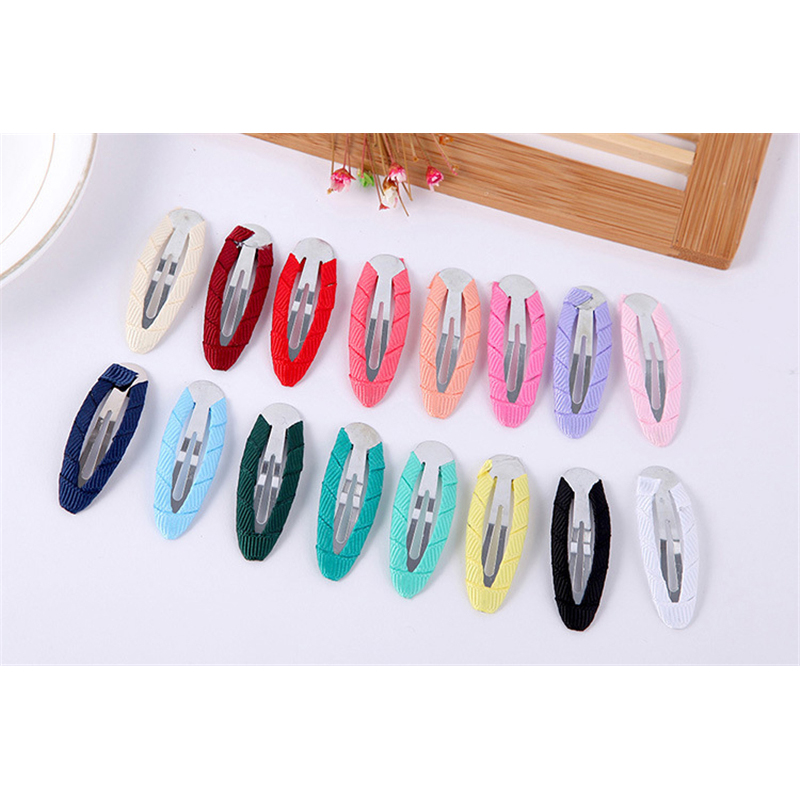 Fast Express shipping 500pcs Fabric Wrapped BB Clips Barrettes metal snap clip for kids Grosgrain Ribbon