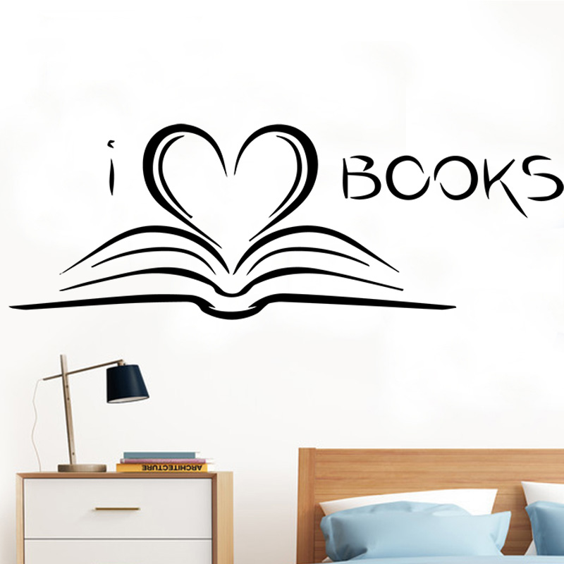 Book Reading Creative Wall Stickers for Flower Heart Romantic Teen Decor Decals Removabl ...