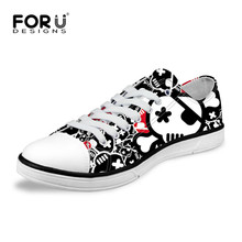 FORUDESIGNS Womens Casual Vulcanize Shoes Punk Skull Female Autumn Summer Breathable Low Top Canvas Shoes Lady Zombie Flat Shoes