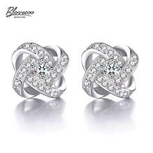 BLOVECOO Stud Earrings For Women New Fashion Silver colour Fine Jewelry Love Eternal Heart Luxury zircon CZ Crystal