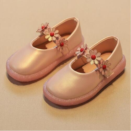 Children Flowers Girls Kids Leather Princess Shoes For Teens Teenagers Girls Baby Party Wedding Dance Single Shoes