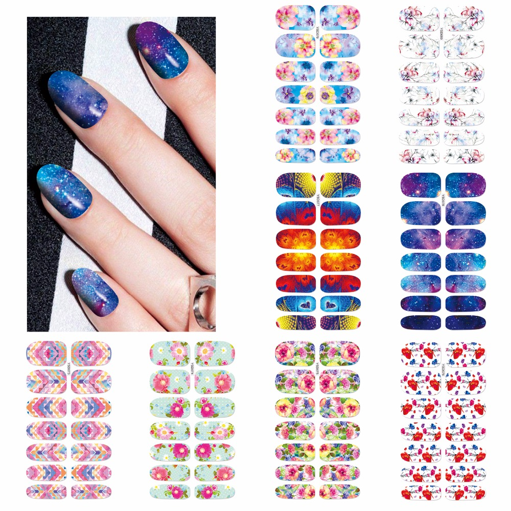 LCJ Flower Mystery Galaxies Designs Nail Stickers Beauty Nail Art Water Decal Decorations Sticker Tools On Nails Accessories 24pcs lot 3d nail stickers decal beauty summer styles design nail art charms manicure bronzing vintage decals decorations tools