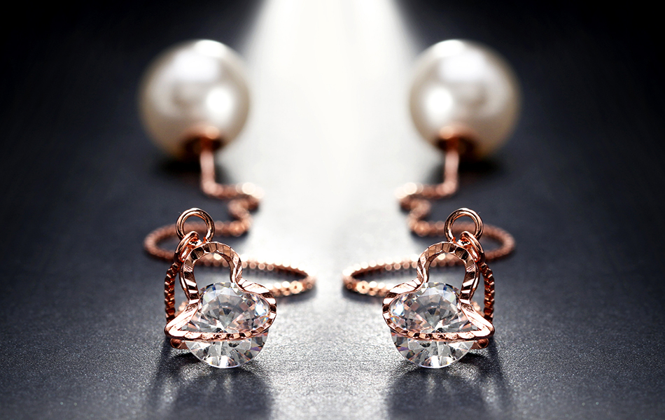 Effie Queen Fashion Cute Ear Wire Earrings Female Models Long Drop Crystal Imitation Pearl Jewelry Dangle Earrings Brincos DDE26 15