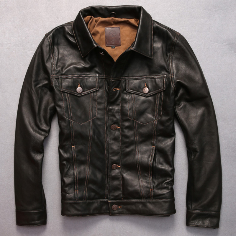 turn down collar genuine goat leather clothing short suede leather rider jacket male casual motorcycle leather