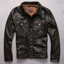 Отложной воротник подлинная коза кожаная одежда короткие замша всадник куртка мужчины случайные мотоцикл кожаной одежды