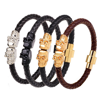 Punk Genuine Leather Bracelet Bangle Double Skull Charm Bracelet Men Women Woven Leather Rope Jewelry YWQR2281 buddhist rope bracelet
