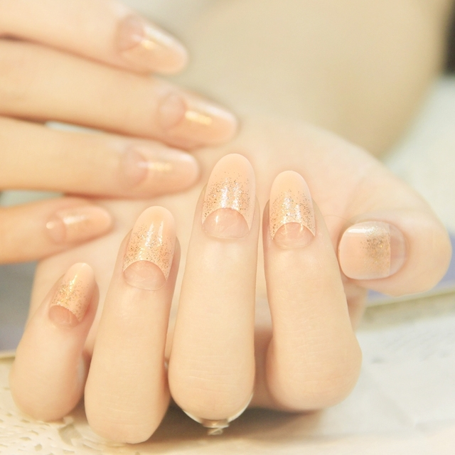 Natural pink glitter round nail tips designs long women style false ...