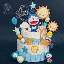 Anime Doraemon Nobita kek dekorasyon Doraemon bulut mutlu doğum günü pastası topper bebek duş doğum günü parti malzemeleri