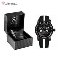 Luxury Leather Box Thresher SHARK Sport Watch Racing Layer 3D Wheel Design Dial Crown Quartz Silicone