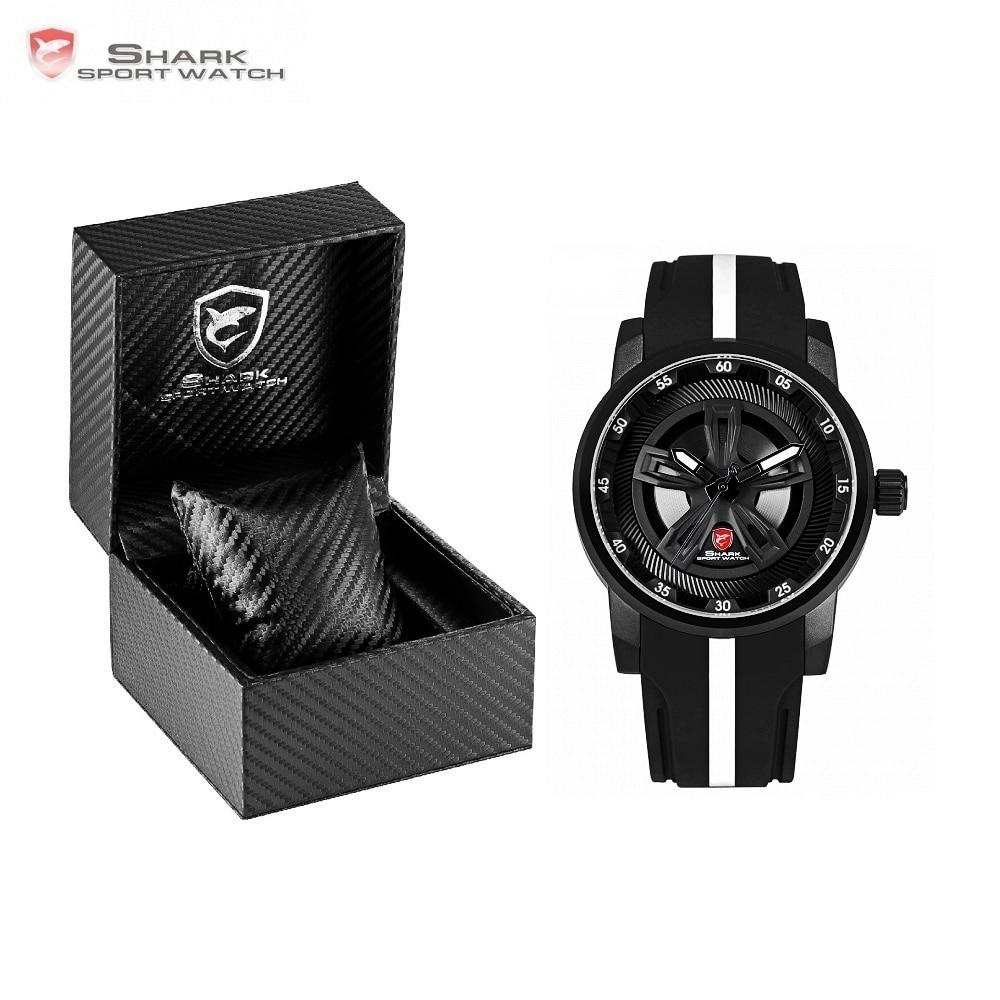 Luxury Leather Box Thresher SHARK Sport Watch Racing Layer 3D Wheel Design Dial Crown Quartz Silicone Band Men Watches/SH501-504 sh brandmens dial sh035